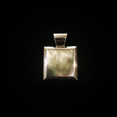 Square Mother-Of-Pearl Silver Pendant