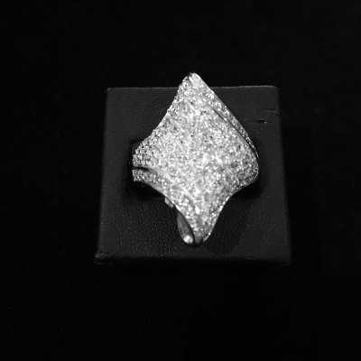 Sterling Silver & Cubic Zirconia Scroll Ring