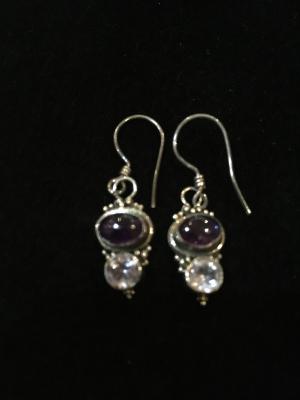 Cute Sterling Silver Amethyst Earrings