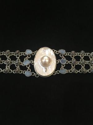 Mabé Pearl, Freshwater Pearl & Opal Silver Bracelet