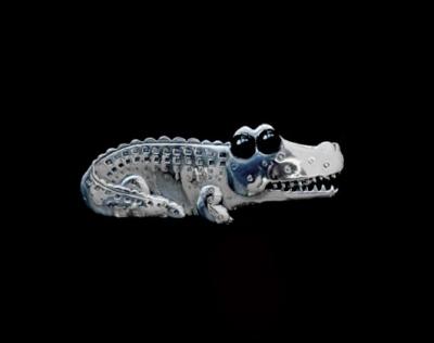 Whimsical Croc Eating Bird Brooch