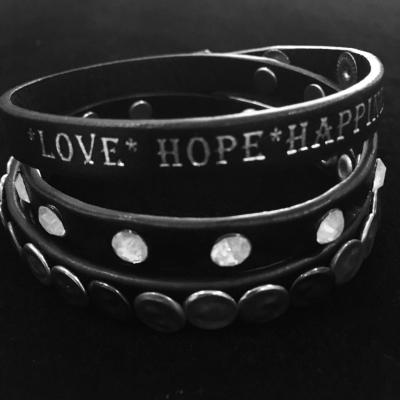 Inspirational Leather Wrap Bracelet