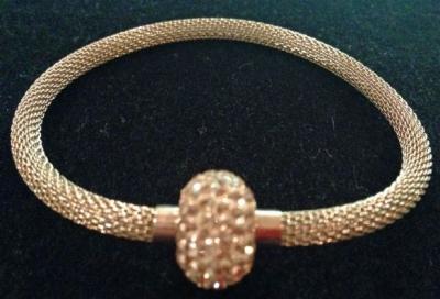 Gold Tone Magnetic Swarovski Crystal Mesh Bracelet