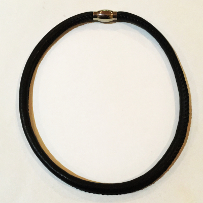 Black Leather Magnetic Clasp Choker