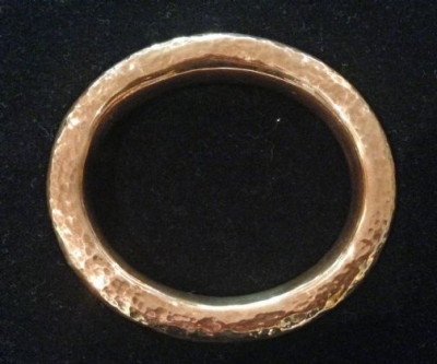 Copper Bangle With Beaten Finish