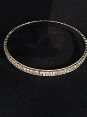 Cubic Zirconia & Sterling Silver Bangle