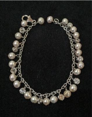 Freshwater Pearl & Cubic Zirconia Silver Bracelet