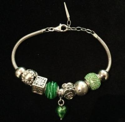 Swarovski & Murano Glass Bead Silver Green Charm Bracelet