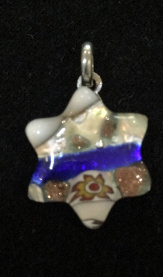 Murano Glass Blue Star of David Pendant