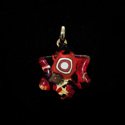 Murano Glass Red Star of David Pendant