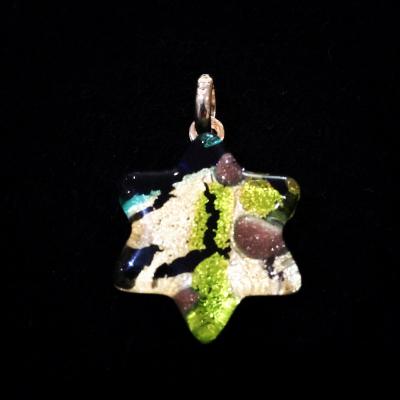 Murano Glass Green & Gold Star of David Pendant