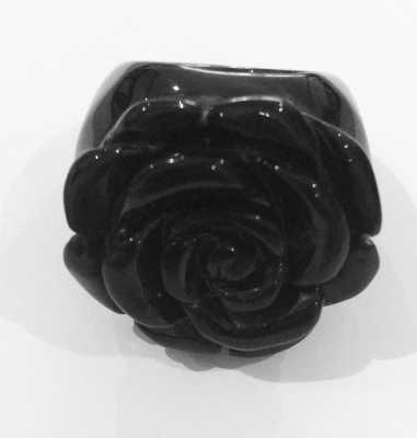 Carved Onyx Rose Ring