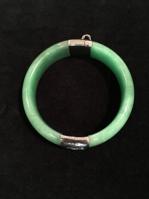 Jade Hinged Bangle With Sterling Silver Hinge
