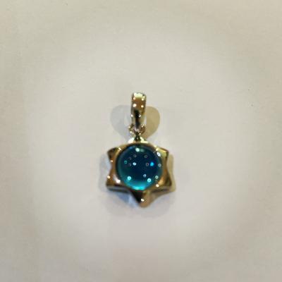 Cute Blue Topaz Sterling Silver Star Of David Pendant
