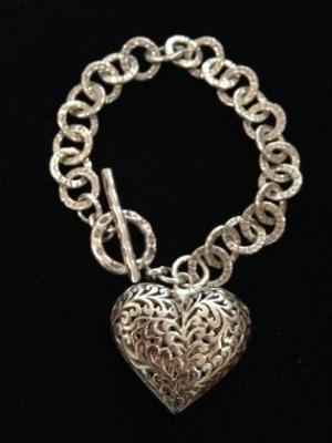 Handmade Silver Filigree Heart Bracelet
