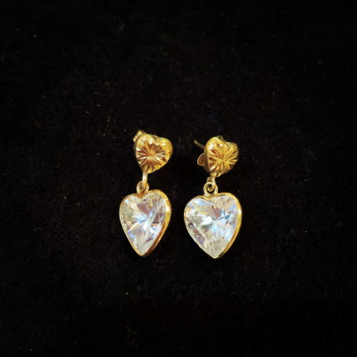 9ct Solid Gold Crystal Earrings