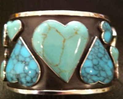 Turquoise & Sterling Silver Heart Cuff
