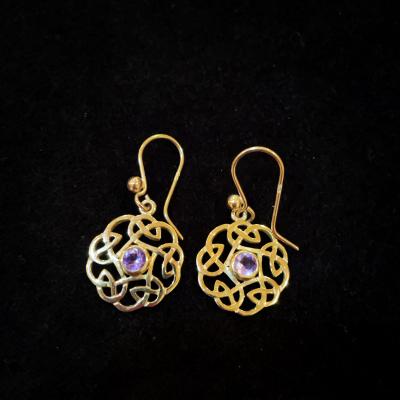 9ct Yellow Gold Celtic Amethyst Earrings