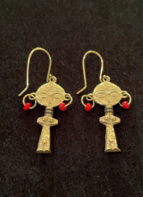 Unique 14ct Solid Yellow Gold African Fertility Goddess Earrings