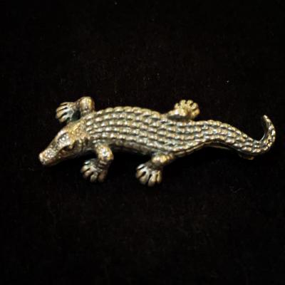 Little Crocodile Silver Brooch