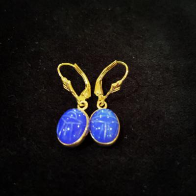 14ct Yellow Gold Scarab Beetle Earrings