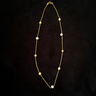Delicate 14ct Yellow Gold & Freshwater Pearl Necklace