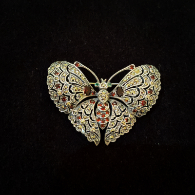 Marcasite & Sterling Silver Gem Set Butterfly Brooch