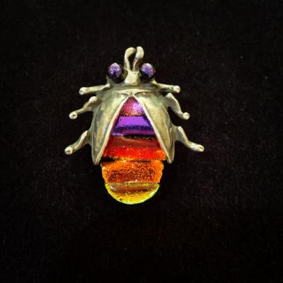 Colourful Art Glass Bug Brooch