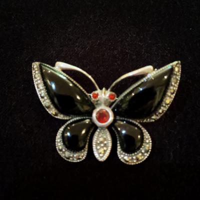 Vintage Black Enamel, Marcasite & Sterling Silver Butterfly Brooch