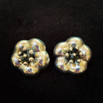 Hibiscus Sterling Silver Clip On Earrings