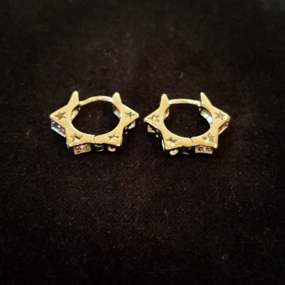 Mauve Cubic Zirconia Silver Star of David Earrings