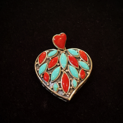 Turquoise & Coral Sterling Silver Heart Pendant