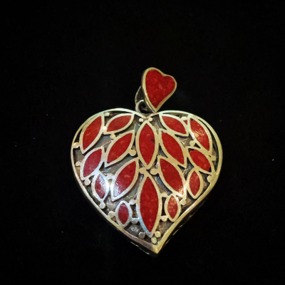 Red Coral Sterling Silver Heart Pendant