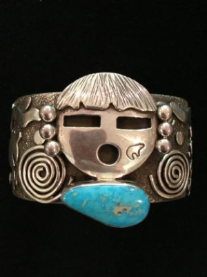 Designer Made Silver & Turquoise Navajo Cuff
