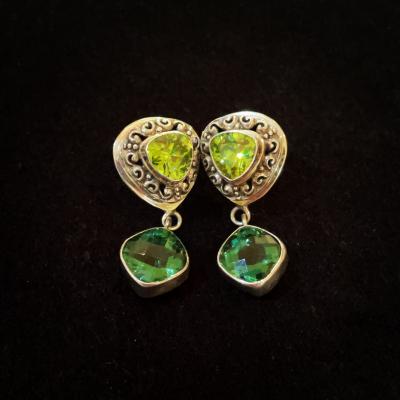 Green With Envy Peridot & Quartz Silver Earrings