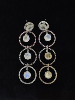 Stunning Long Moonstone Earrings