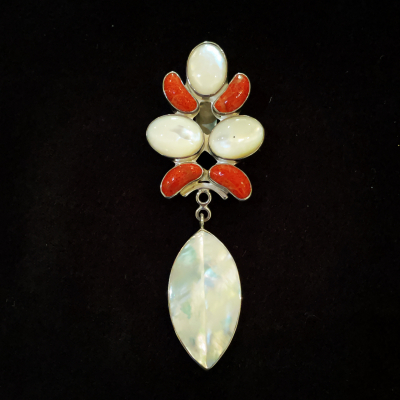 Red Coral & Mother-Of-Pearl Large Silver Pendant