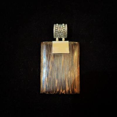 Fancy Bale Sterling Silver Wood Pendant
