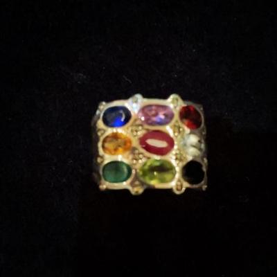 Gorgeous 9 Stone Navaratna Sterling Silver Ring