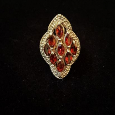 Sterling Silver Ring Set With Garnets