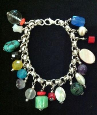 Multi Gem & Freshwater Pearl Silver Bracelet