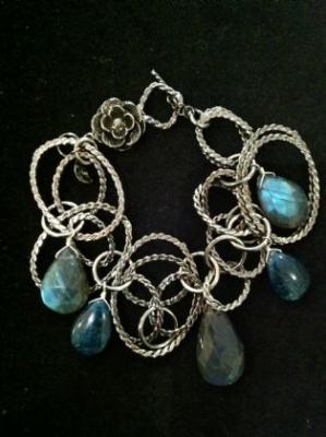 Apatite & Labradorite Silver Bracelet