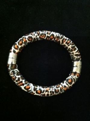 Leopard Print Enamel on Silver Bracelet