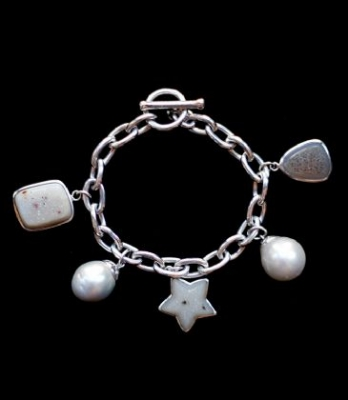 South Sea Pearl & Druse Bracelet