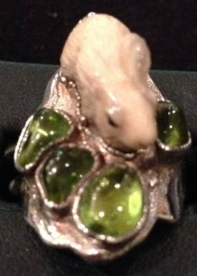 Peridot & Ancient Ivory Silver Bunny Ring