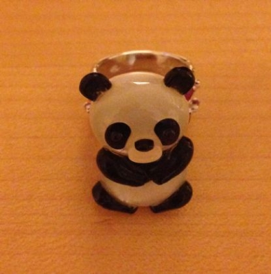 Cute Onyx, Chalcedony & Mother-Of-Pearl Panda Ring