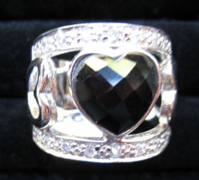 Onyx and Cubic Zirconia Silver Heart Ring