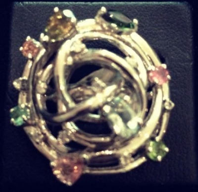 Tourmaline & Multicoloured Gems Silver Ring