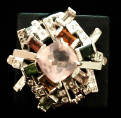 Rose Quartz & Tourmaline Silver Statement Ring