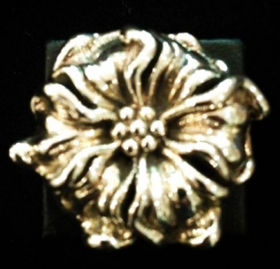Hibiscus Flower Sterling Silver Ring
